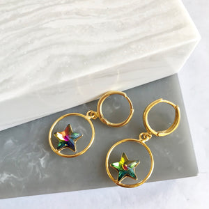 Gold Plated Crystal Star Hoop Earrings
