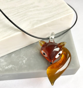 Lampwork Glass Fox Necklace