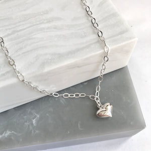 Sterling Silver Dangly Heart Charm Anklet