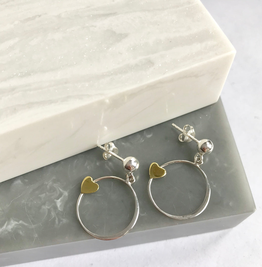 Sterling Silver Love Circle Earrings