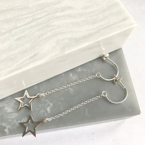 Sterling Silver Long Drop Star Earrings