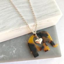 Sterling Silver & Acrylic Elephant Necklace