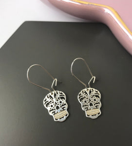Sterling Silver Sugar Skull Earrings
