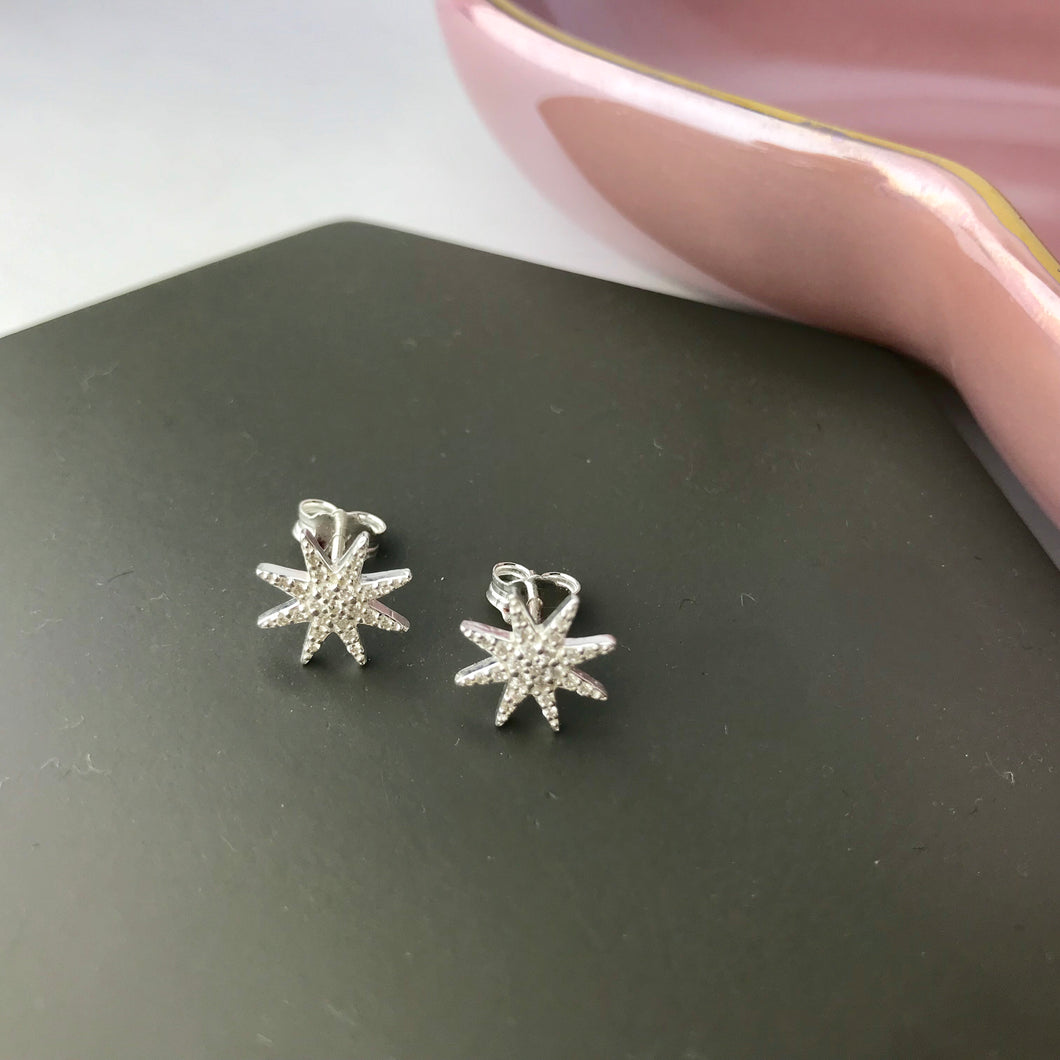 Sterling Silver Sparkly Starburst Stud Earrings