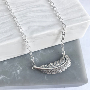 Sterling Silver Large Feather Necklace