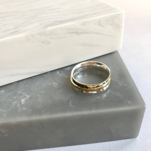Sterling Silver Brass Band Spinning Ring