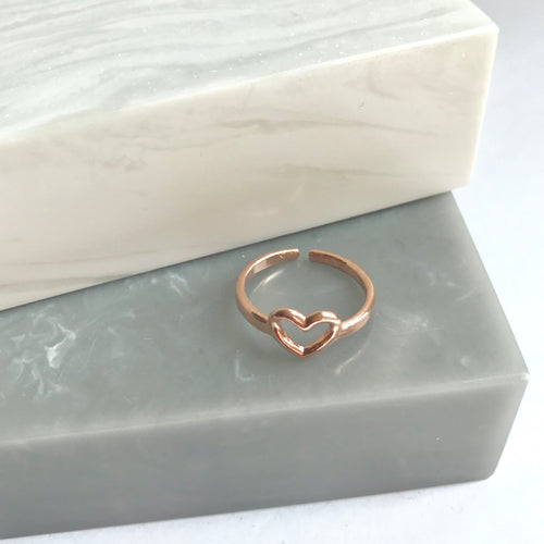 Sterling Silver Rose Gold Heart Pinky Midi Ring