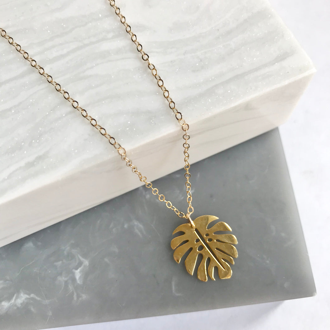 Gold Plated Sterling Silver Monstera Leaf Necklace