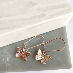 Rose Gold Plated Butterfly Earrings