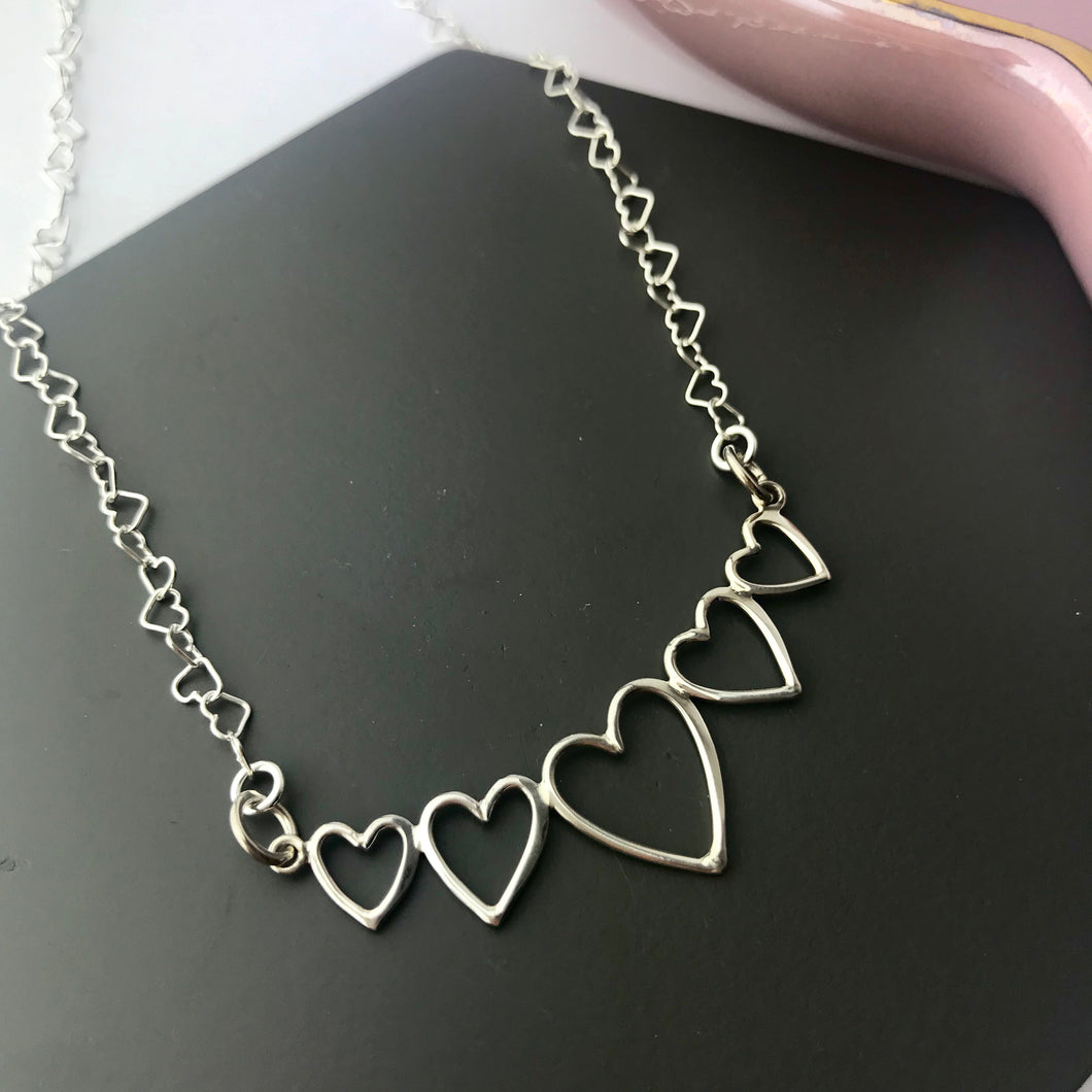 Sterling Silver 5 Heart Necklace