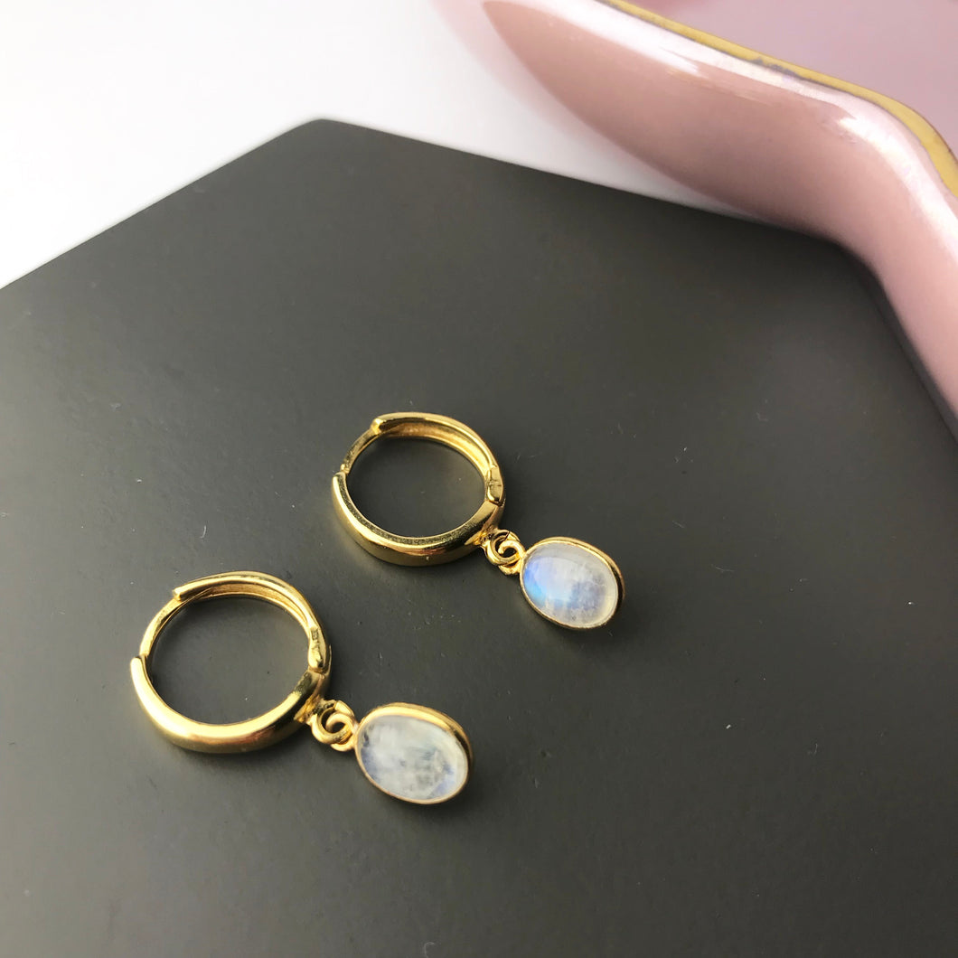 Gold Plated Moonstone Hoop Earrings