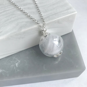 Sterling Silver Glass Orb Feather Necklace