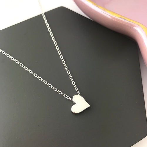 sterling silver heart bead necklace