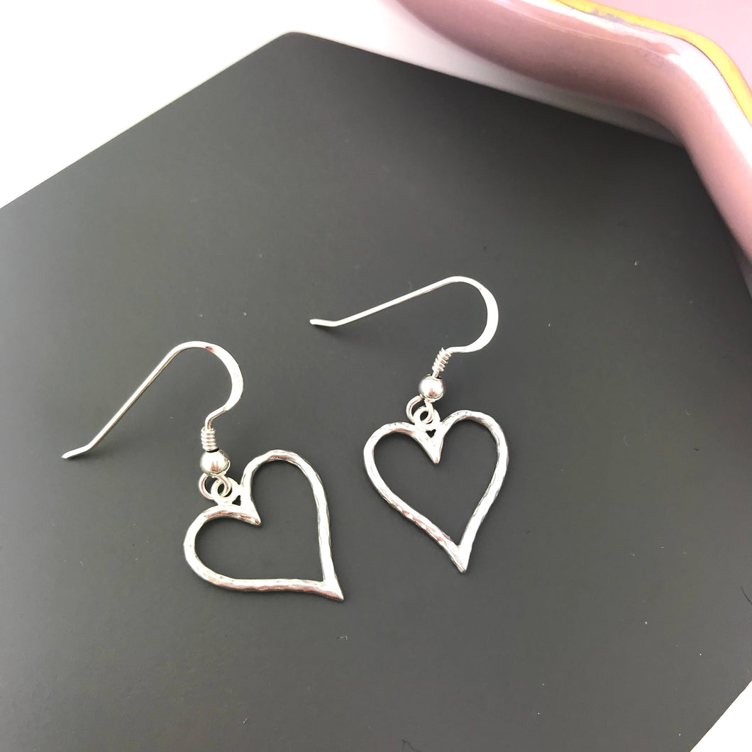 Sterling Silver Hammered Heart Shaped Earrings