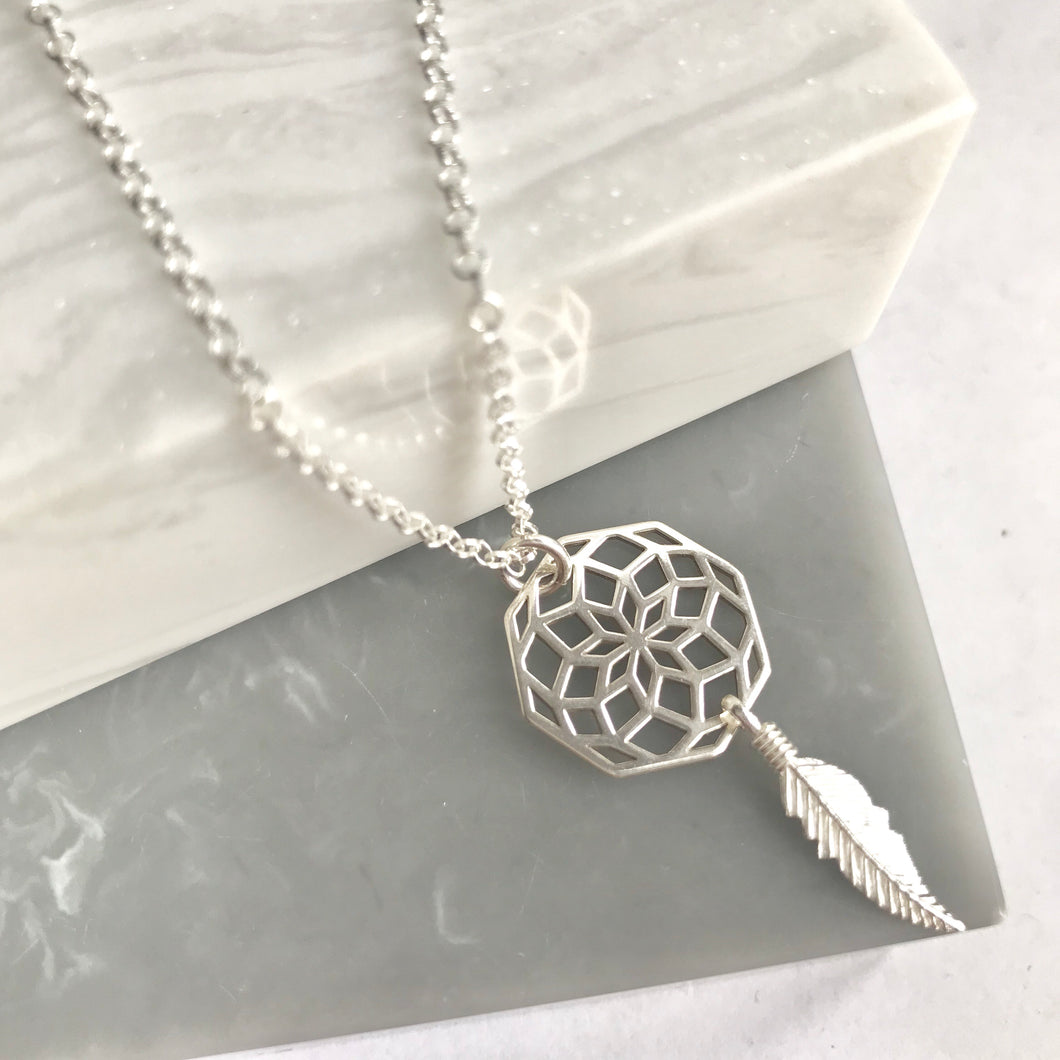 SAMPLE!! Sterling Silver Dreamcatcher Necklace