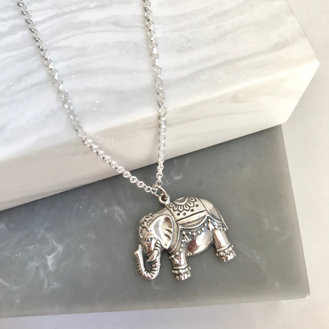Sterling Silver Indian Elephant Necklace