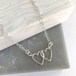 Sterling Silver Linked Heart Necklace