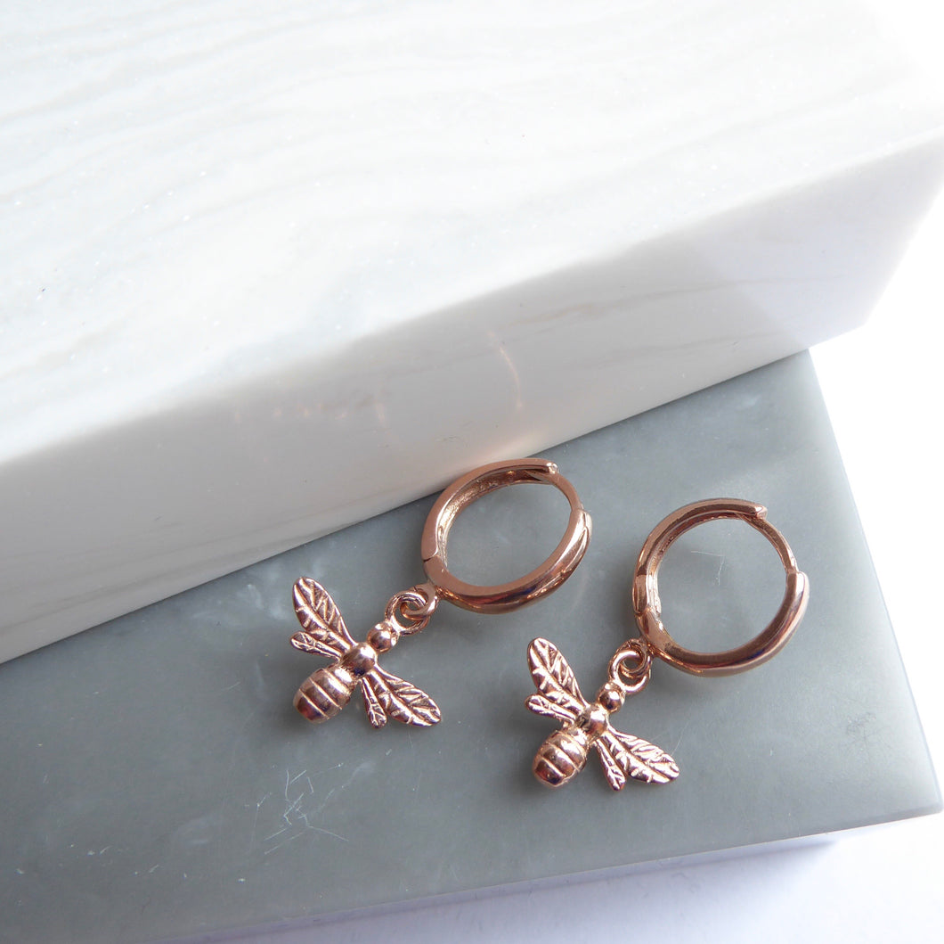 Rose Gold Plated Bee Hoop Earrings