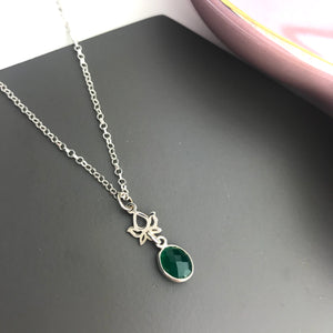 SAMPLE!! Sterling Silver Lotus Gemstone Necklace