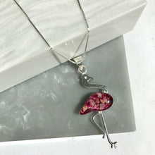 SALE!! Sterling Silver Real Heather Flower Flamingo Necklace