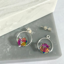 Sterling Silver Circle & Crystal Cube Earrings