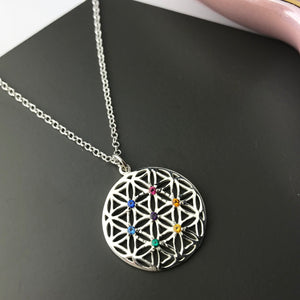Sterling Silver Flower Of Life Chakra Pendant