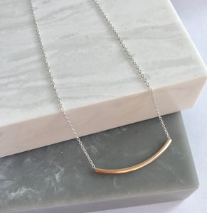 Sterling Silver And Gold Filled Tube Necklace