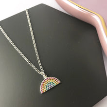 Sterling Silver Sparkly Rainbow Necklace
