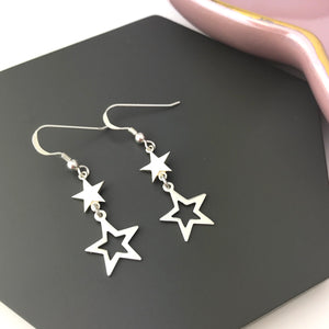 Sterling Silver Double Star Dangly Earrings