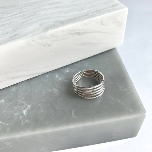 Sterling Silver 5 Band Midi/Pinky Ring