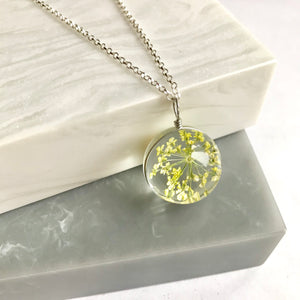 Dried Flower Glass Ball Necklace
