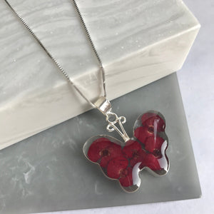 SALE!! Sterling Silver Poppy Large Butterfly Necklace