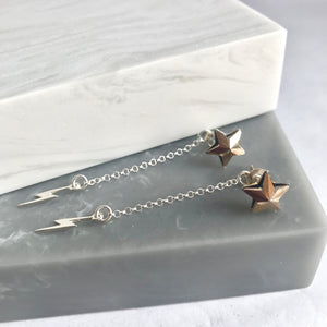 Sterling Silver Star Stud And Lightning Earrings