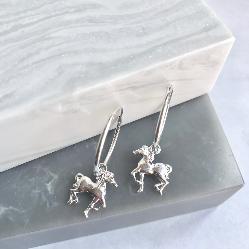 Sterling Silver Horses On Hoop Earrings