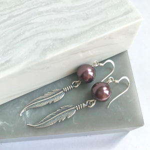 SALE!! Sterling Silver Feather & Pearl Earrings
