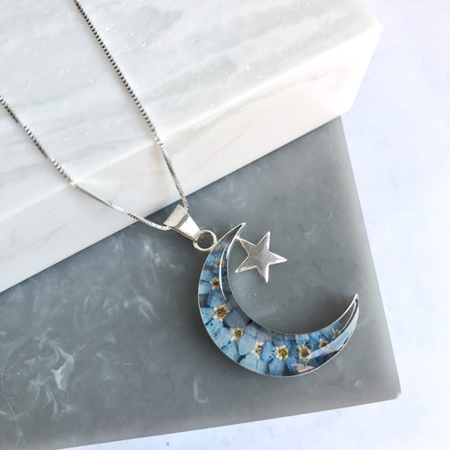 SALE!! Sterling Silver & Forget Me Not Moon Necklace