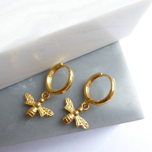 Gold Plated Bee Hoop Earrings