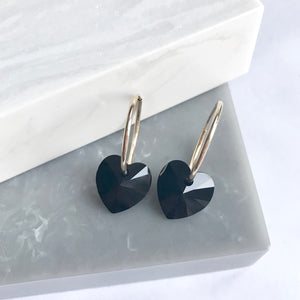 Gold Filled Hoops And Black Crystal Hearts