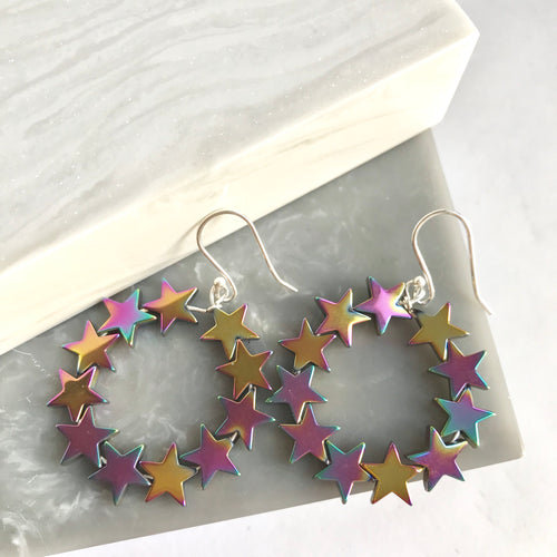 Sterling Silver And Rainbow Hematite Star Bead Earrings