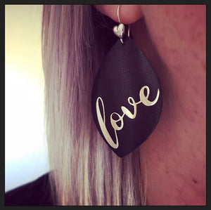 Sterling Silver & Leather Love Earrings
