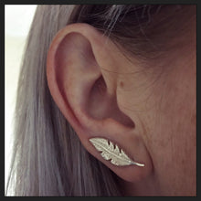 Sterling Silver Feather Ear Crawlers