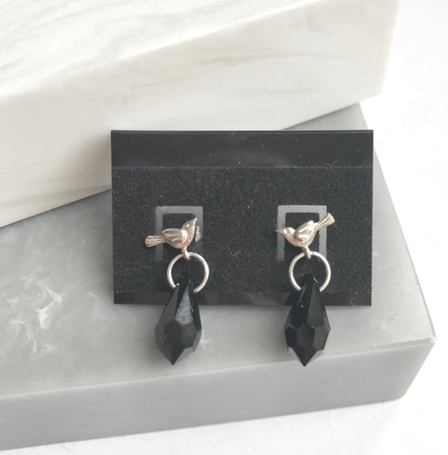 SALE!! Sterling Silver Bird & Crystal Earrings