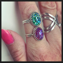 Sterling Silver Ring With Glass Opal Effect Stone