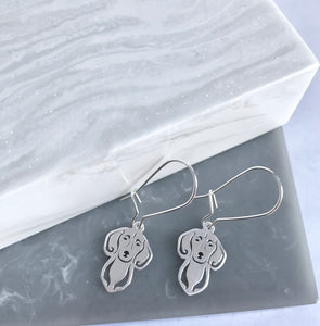 SALE!! Sterling Silver Dachshund Head Earrings