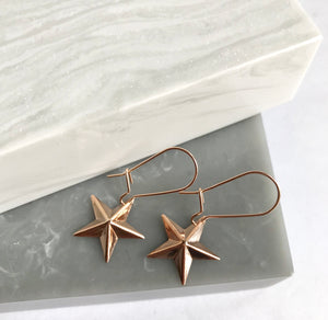 SALE!! Rose Gold 3D Star Earrings