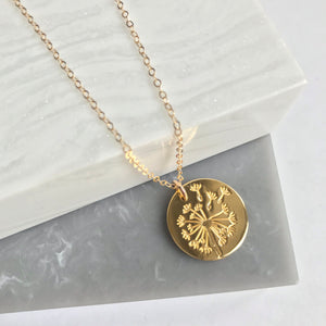 Gold Vermeil Large Dandelion Wish Necklace