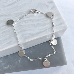 Sterling Silver Small Disc Anklet