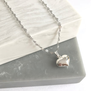 Sterling Silver Heart Charm on Heart Link Chain