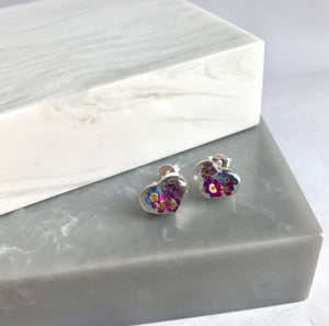 SALE!! Sterling Silver Real Purple Mix Flower Stud Earrings