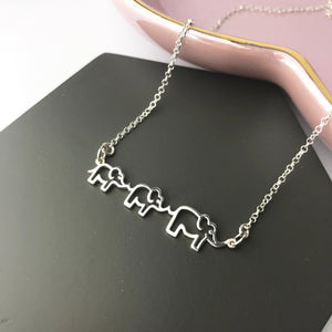 Sterling Silver Follow My Leader Three Elephant Necklace